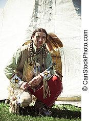 norte, norteamericano, indio, Lleno, Vestido,...