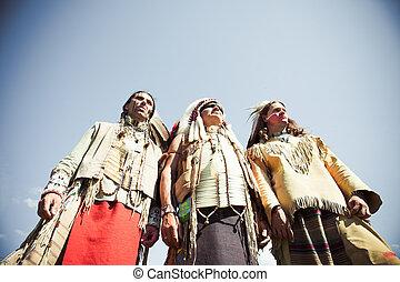grupo, norte, norteamericano, indios, sobre, wigwam