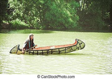 norte, norteamericano, indio, Flotadores, Abajo, río,...