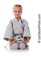 niña, -, karateka, kimono