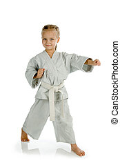 niña, -, karate, kimono