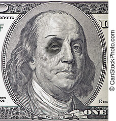Beat Up Ben Franklin - A beat up Ben Franklin