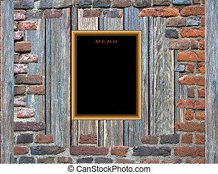 Menu in red brick frame - Blank menu blackboard on a wooden...