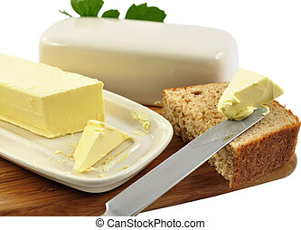 butter and bread - butter and homemade bread with knife