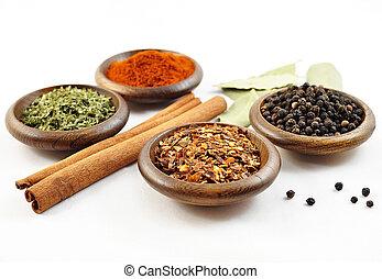 spices - arangement of spices on a white background