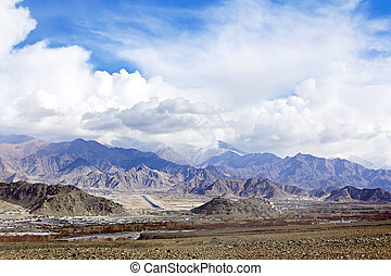 City in the valley of Ladakh Himalayas - Of Lech Ladakh in a...