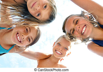 happy smiling children friends outdoor portrait - happy...