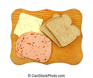 Wheat bread meat and cheese