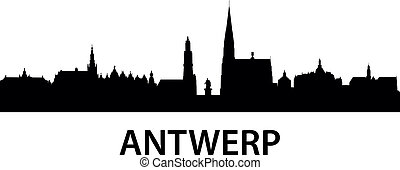 Skyline Antwerp - detailed illustration of Antwerp, Belgium
