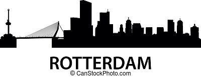 Skyline Rotterdam - detailed illustration of Rotterdam,...