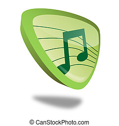 Button Music - green music button with perspective, symbol...