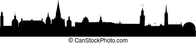 Skyline Stockholm - detailed vector skyline of Stockholm