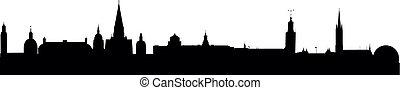 Skyline Stockholm - detailed vector skyline of Stockholm