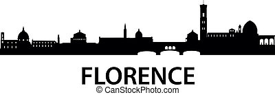 Skyline Florence - detailed vector silhouette of Florence,...