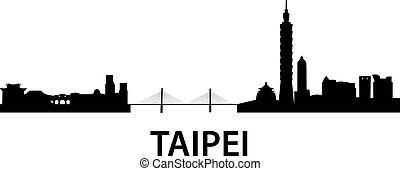 Skyline Taipei - detailed vector skyline of Taipei