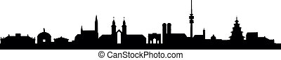 Muenchen Skyline - detailed vector skyline of Munich