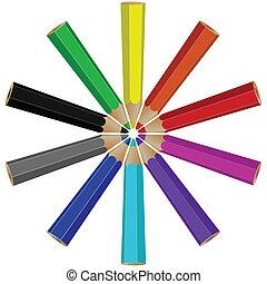 pencils circle arrangement
