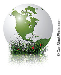 earth globe and grass reflected