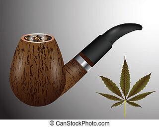 wooden smoking pipe
