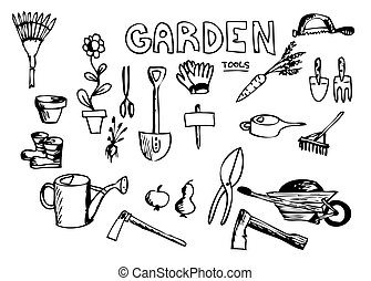 hand drawn garden tools isolated on the white background