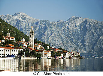 perast in kotor bay montenegro - perast village in kotor bay...