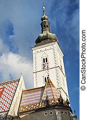 church spire in zagreb croatia - church spire in central...