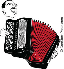 male musician playing the accordion