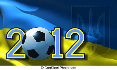 Euro 2012 Ukraine - Adstract render of date 2012 and ball on...