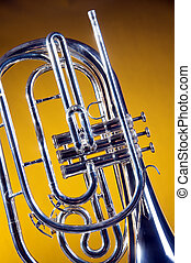 Marching French Horn Isolated on Yellow