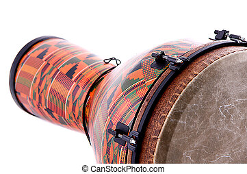 africano, latín, Djembe, conga, tambor, aislado,...