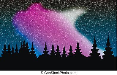 Vector aurora polaris over forest - Aurora polaris over...