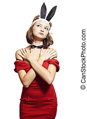 woman with bunny ears - Young woman with bunny ears isolated...