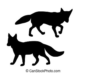 The black silhouettes of two foxes on white