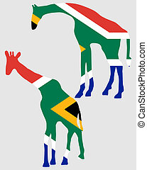 Giraffes with flag of south Africa