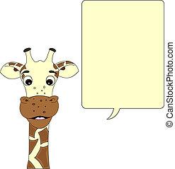 Giraffe with speech bubble