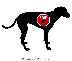 Dog stop sign for fleas