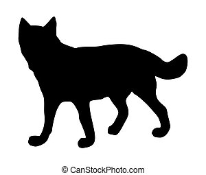 The black silhouette of a wolf on white