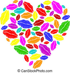 Colorful lipstick heart