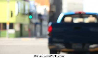 pickup truck in the city - following a truck down an urban...