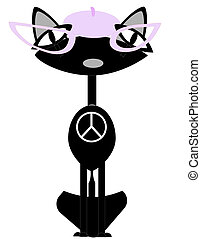 Kool Diva Cat sitting elegantly with a peace sign on her/...
