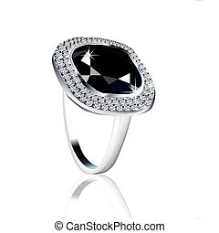 Diamond Ring on white over Vector - Diamond engagement ring...