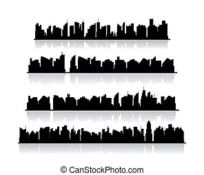 Set city silhouettes. Vector