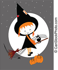 lil witch on broom - little witch girl on broom for...