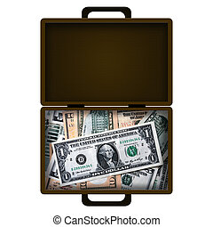 Money case - Brown leather case full of money isolated over...