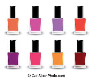 Bottles of nail polish in various shades. Vector...