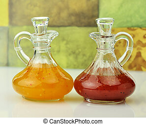 salad dressings - italian and raspberry vinaigrette salad...