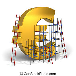 Making money concept: golden Euro sign with scaffold and...