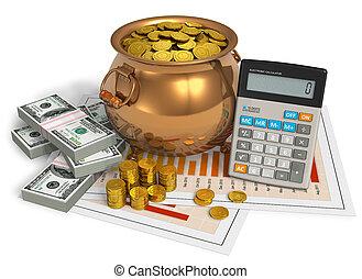financeiro, concept:, pote, Ouro, calculadora,...