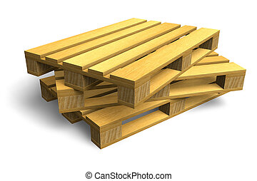 Stack of wooden shipping pallets isolated on white...