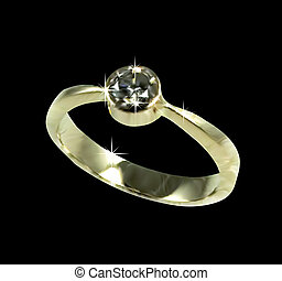 Gold wedding ring with diamond. Vector